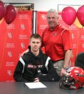 From left, Zach Day with Holley Varsity Football Coach Wil Prince.