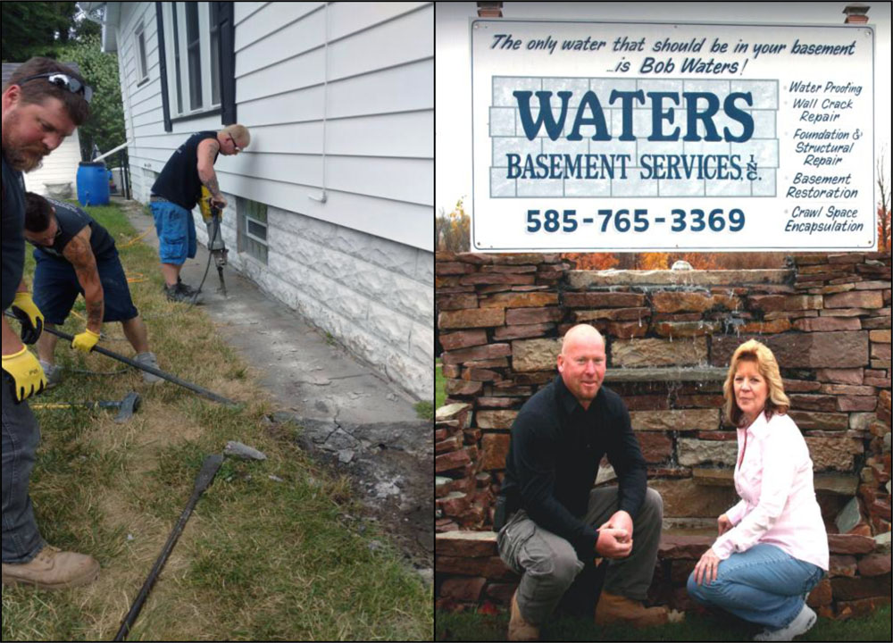 (Right) Waters Basement Services, Inc. owners Bob and Darlene Waters, and (Left) the staff at work.