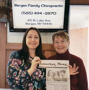 When Bergen Chiropractic first opened in 1997, Suburban News put a photo and story of them on the front page, and for an entire decade they would have new patients say they heard about them from the article. Here, Dr. Amy Mercovich and Dr. Pat Swapceinski hold up the original news article from 1997. Provided photo