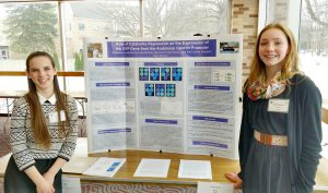 Brighton High School student Aelis Spiller and Brockport High School student Laine Ramsay present at the Science Congress. Provided photo