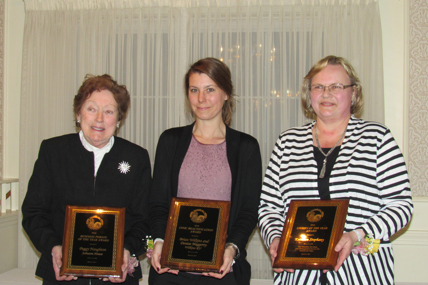 Greater Churchville-Riga Chamber of Commerce Awards Winners (l to r):  Peggy Naughton, Business Person of the Year; Denise Haggerty of Wilkins RV, Civic Beautification Award; Kathleen Stephany, Citizen of the Year. Not pictured:  Sue Davis, Chamber of Commerce Member of the Year. K. Gabalski photo