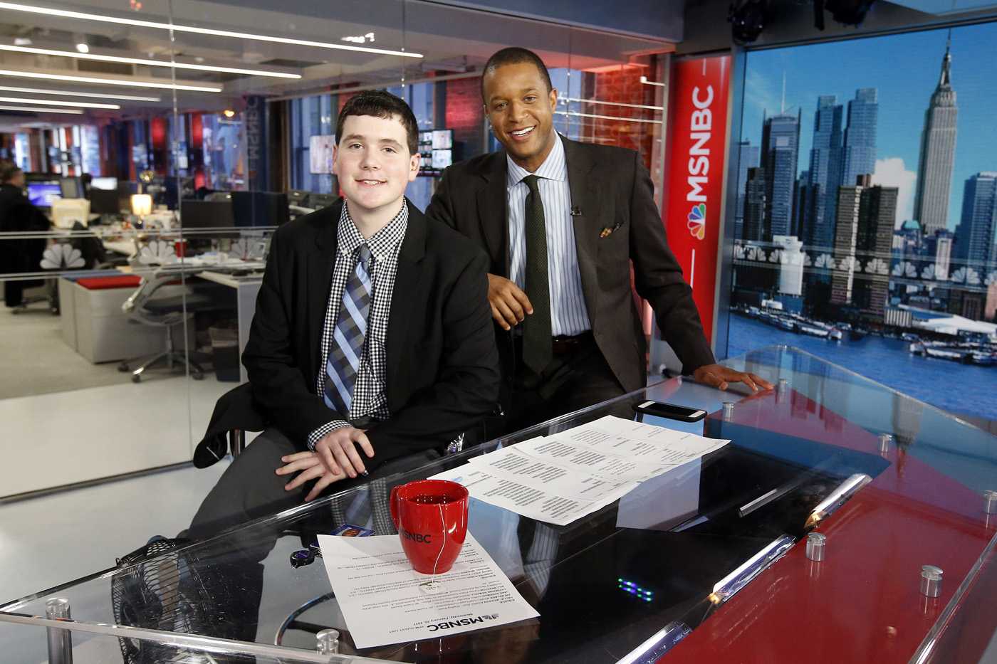 John Gabalski (left) and Craig Melvin in the MSNBC studio in New York City, February 22. Photo provided by National 4-H Council.