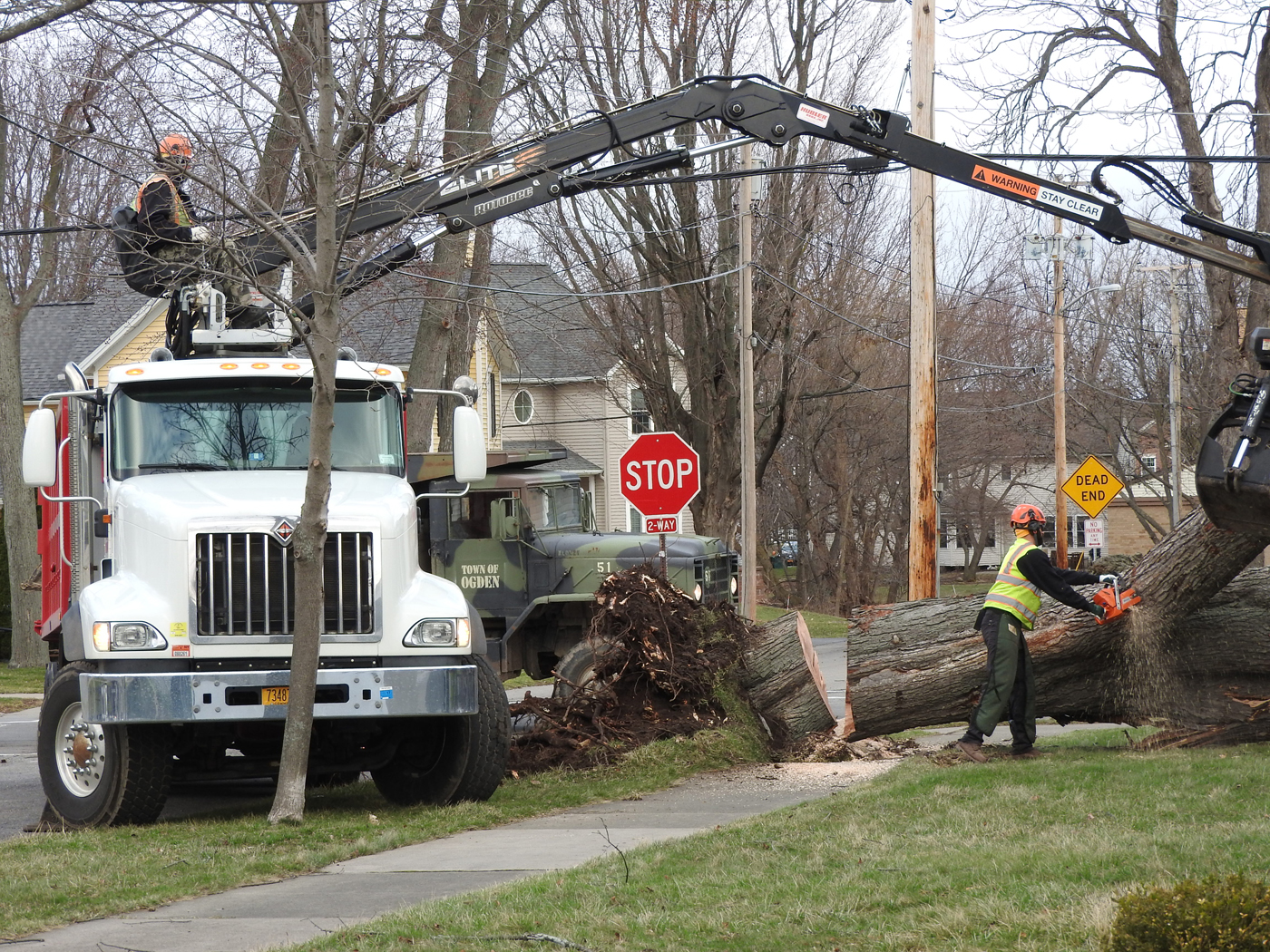 Crews work to remove a fallen tree at the corner of Clark Street and Amity Street in Spencerport. Photo by Karen Fien