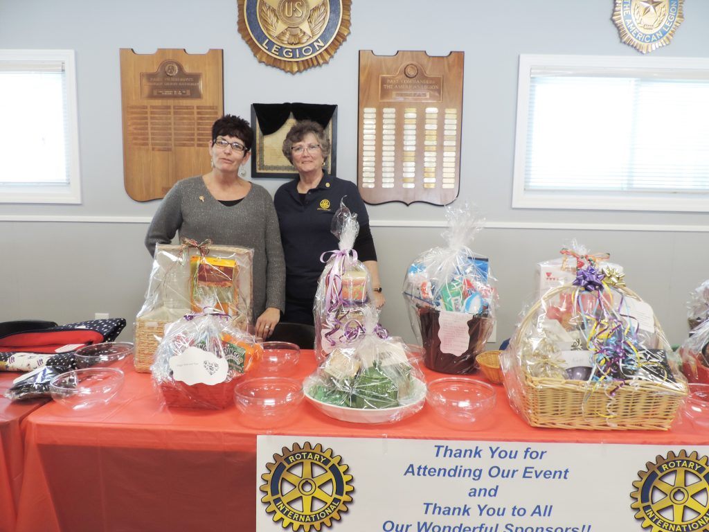 Michele Mihalitsas (left) who made numerous baskets for the silent auction stands with Club President Kathy Magin. Provided photo