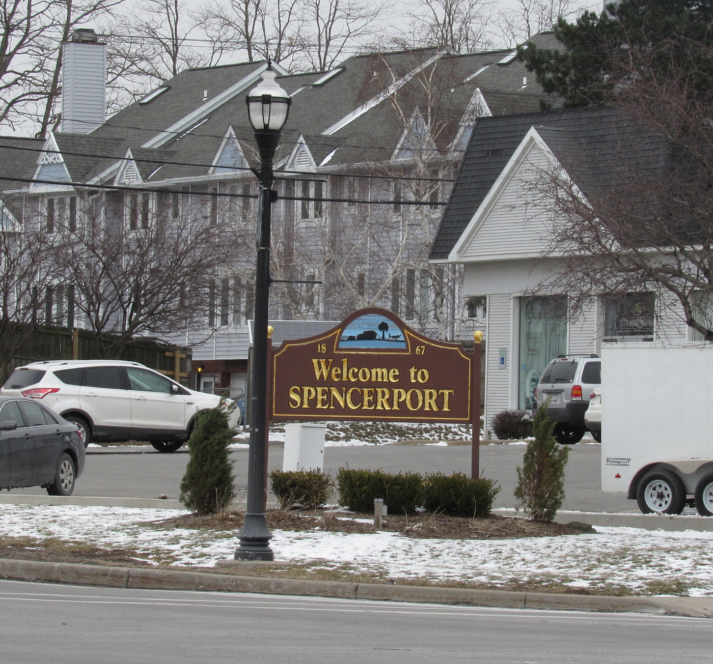 Village of Spencerport sign at the corner of South Union Street and Nichols Street. Village elections will be held Tuesday, March 21. K. Gabalski photo