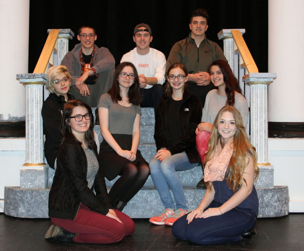 Play leads (l-r): back row - Isaac Barrett, Jeremy Robinson, Shawn Maira; middle row - Aubree Monacelli, Grace Crowe, Hannah True, Taylor Murphy; front row - Shay Gauthier and Lillian Sealy. Provided photo