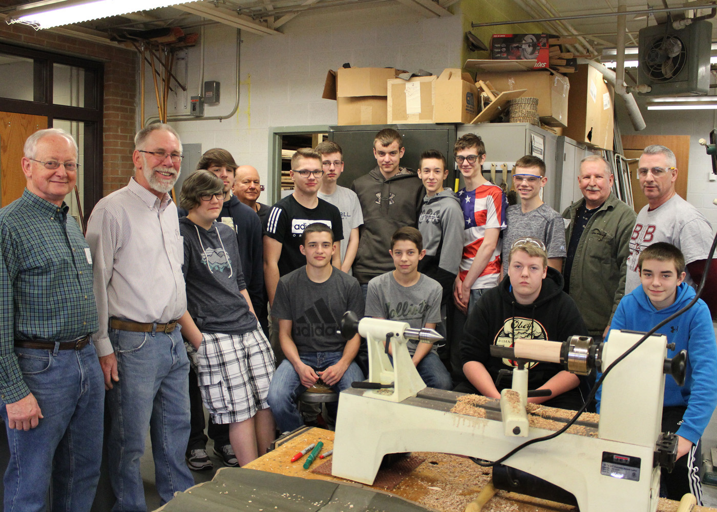 Byron-Bergen students with Finger Lakes Woodturners volunteers David Leupold, Gerald Sheridan, Michael Hachey and David Harp, along with technology teacher Jay Wolcott. Provided photo