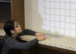 Ninth Grade Academy student graphing a parabolic curve as part of an exercise to design a fountain. Provided photo