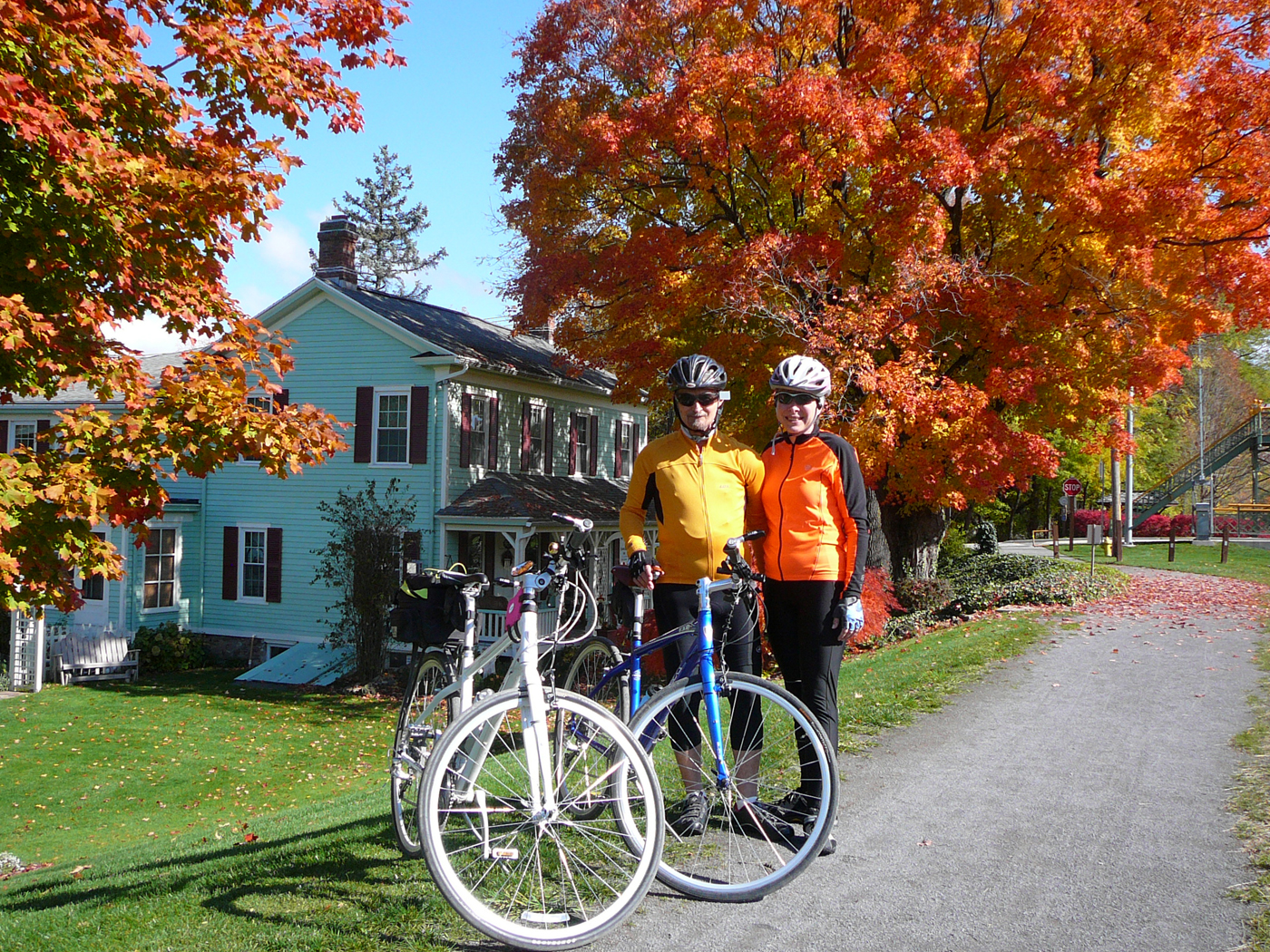 "Steve Amberg and Zelma Kostyshak pose amid the brilliant October foliage in Adams Basin.  The couple cycled more than 17,000 miles - mainly along the Erie Canal Path - during Steve's battle with cancer.  Steve passed away on February 6.  Zelma says the bike riding brought him much joy.  ""He had a great sense of humor and was always smiling,"" she says. Provided photo"