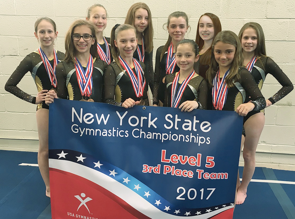 Bright Raven Level 5 team (l-r): Gabriella White (Ogden), Sophia Daeschner (Ogden), Emily Post (Spencerport), Natalie Wood (Henrietta), Grace Gocher (Chili), Olivia Bieber (Albion), Maya Indelicato (Greece) Jessica Pelkey (Caledonia), Paige Evans (Greece) and Meredith Fingler (Chili). Provided photo