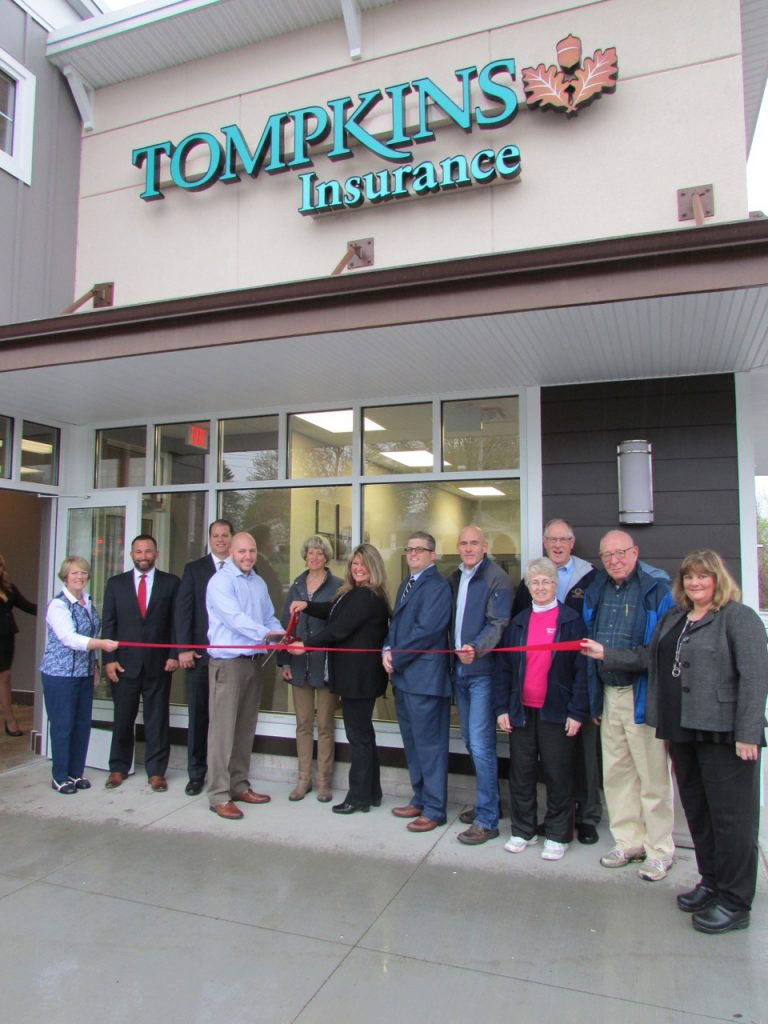 Attendees of the ribbon cutting ceremony for Tompkins Insurance Agencies in Brockport (l-r): Kathy Didas, Brockport Chamber of Commerce; Tim Spezzano, Senior Vice President, Tompkins Insurance Agencies; David Boyce, President & CEO, Tompkins Insurance Agencies; Kyle Kurkowski, Assistant Vice President, Tompkins Insurance Agencies; Margaret Blackman, Mayor, Village of Brockport; Yvette Alexander, Sales Account Manager, Tompkins Insurance Agencies; Kevin Robertson, WNY Personal Lines Supervisor, Tompkins Insurance Agencies; Mike Rockow, Monroe County Legislator, 2nd District; Linda Kruchten-Merring, Brockport Ecumenical Food Shelf; Terry Marsham, Brockport Ecumenical Food Shelf; David Hale, Brockport Ecumenical Food Shelf; Robin Waller, President, Brockport Chamber of Commerce. Provided photo