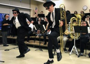 "Byron-Bergen ""Blues Brothers"" Brian Ireland (l) and Josh Phelps (r) hit the stage for ""Soul Man."" Provided photo"