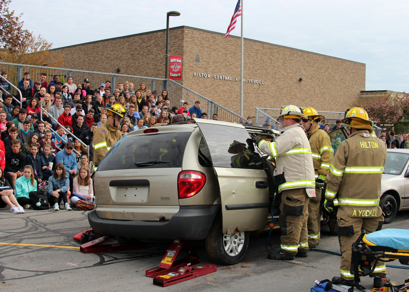 The Hilton Fire Department and Hilton Volunteer Ambulance work to free passengers during a simulated crash demonstration for juniors and seniors at Hilton High School. Provided photo