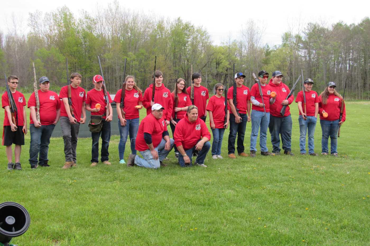 Members of the Holley Central School Holley Hawks Trap League team pose with their coaches May 11 at the Holley Rod & Gun Club in Clarendon. K. Gabalski photo