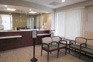 The waiting room of UR Medicine Heart and Vascular at Strong West in Brockport. The office is housed on the third floor of the former Lakeside Hospital. The third floor also includes a new multi-specialty suite. K. Gabalski photo