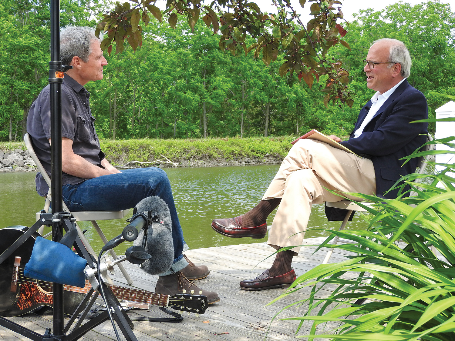 CBS Sunday Morning correspondent Richard Schlesinger (right) interviewing Dave Ruch at the Spencerport Depot and Canal Museum.