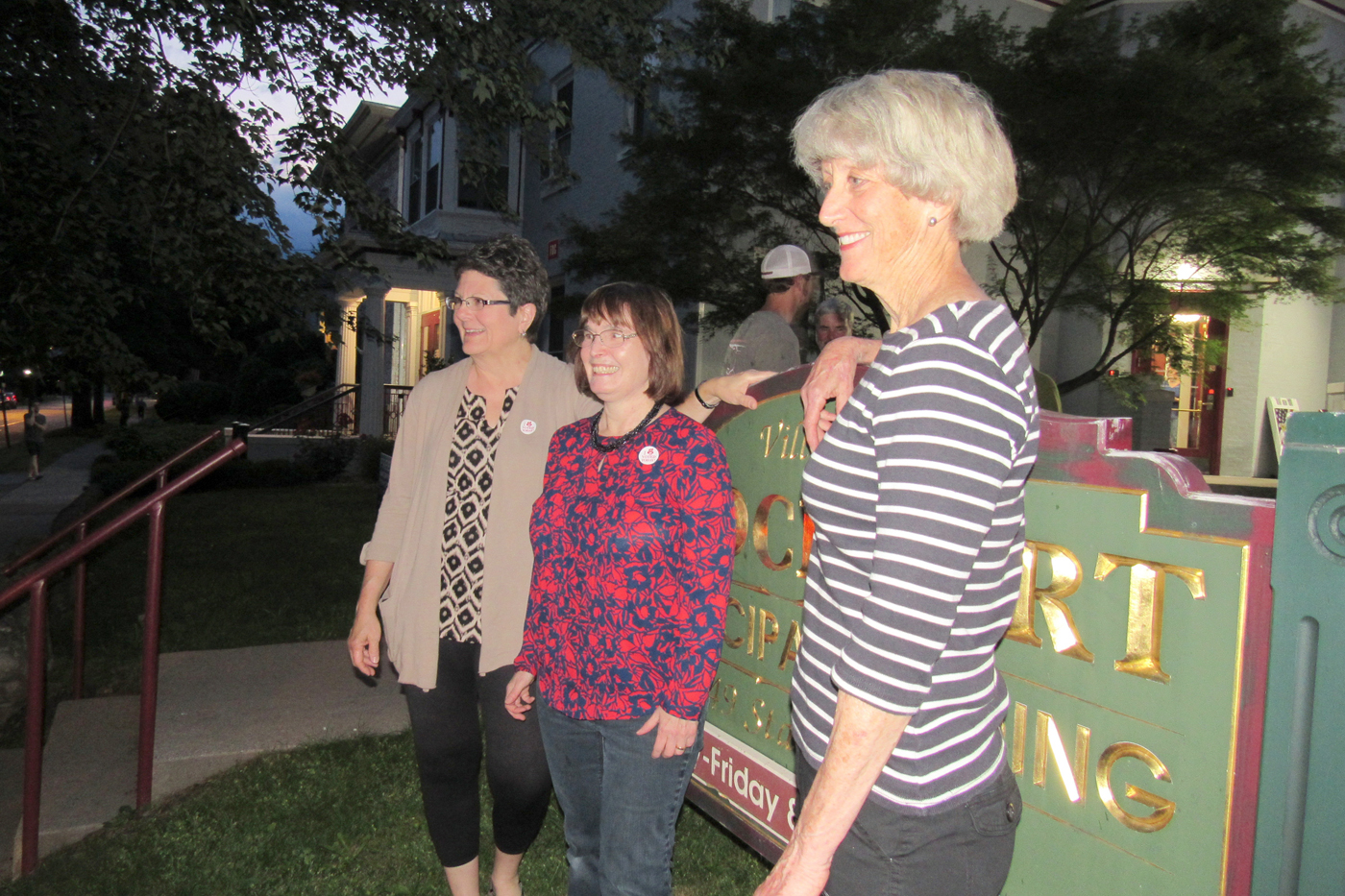 Brockport Mayor Margaret Blackman (far right) an d Trustees Katherine Kristansen and Annie Crane (center) celebrate outside the Brockport Village Hall Tuesday evening, June 20 after being returned to the village board in the 2017 election. K. Gabalski photo