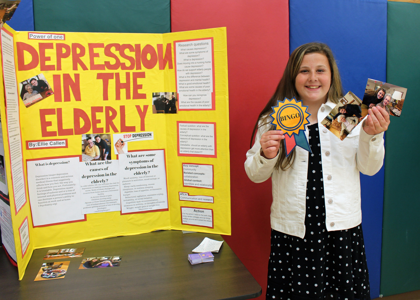 Northwood sixth grader Ellie Callen shows off her Power of One presentation on Depression in the Elderly. Provided photo