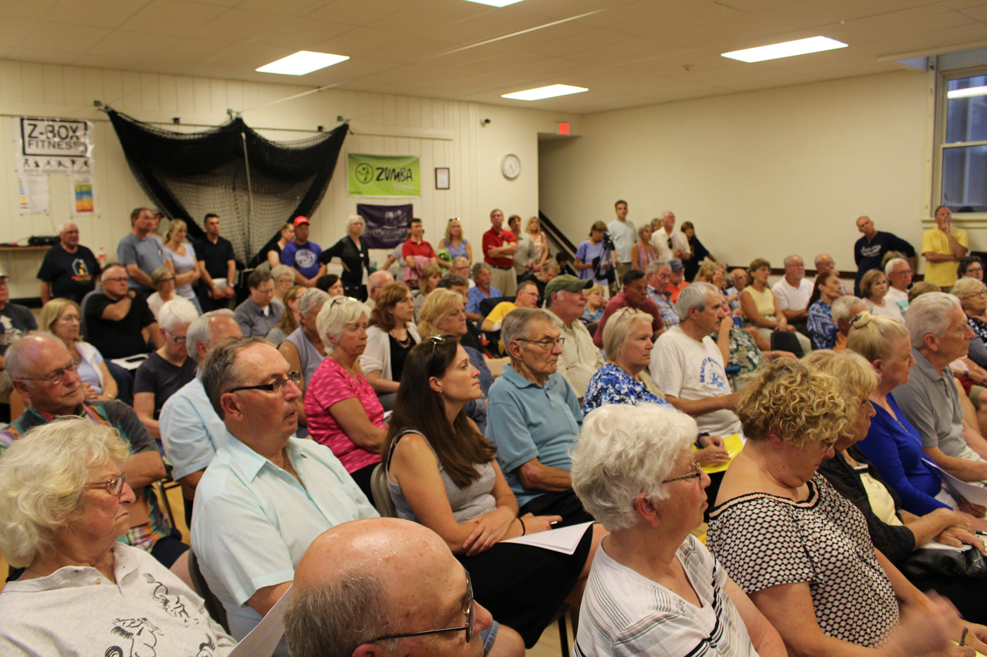 Residents and business owners along Lake Ontario crowd into the Hamlin Town Hall Friday, June 23, for a meeting/rally of United Shoreline. Photo by Stephen Herbeck