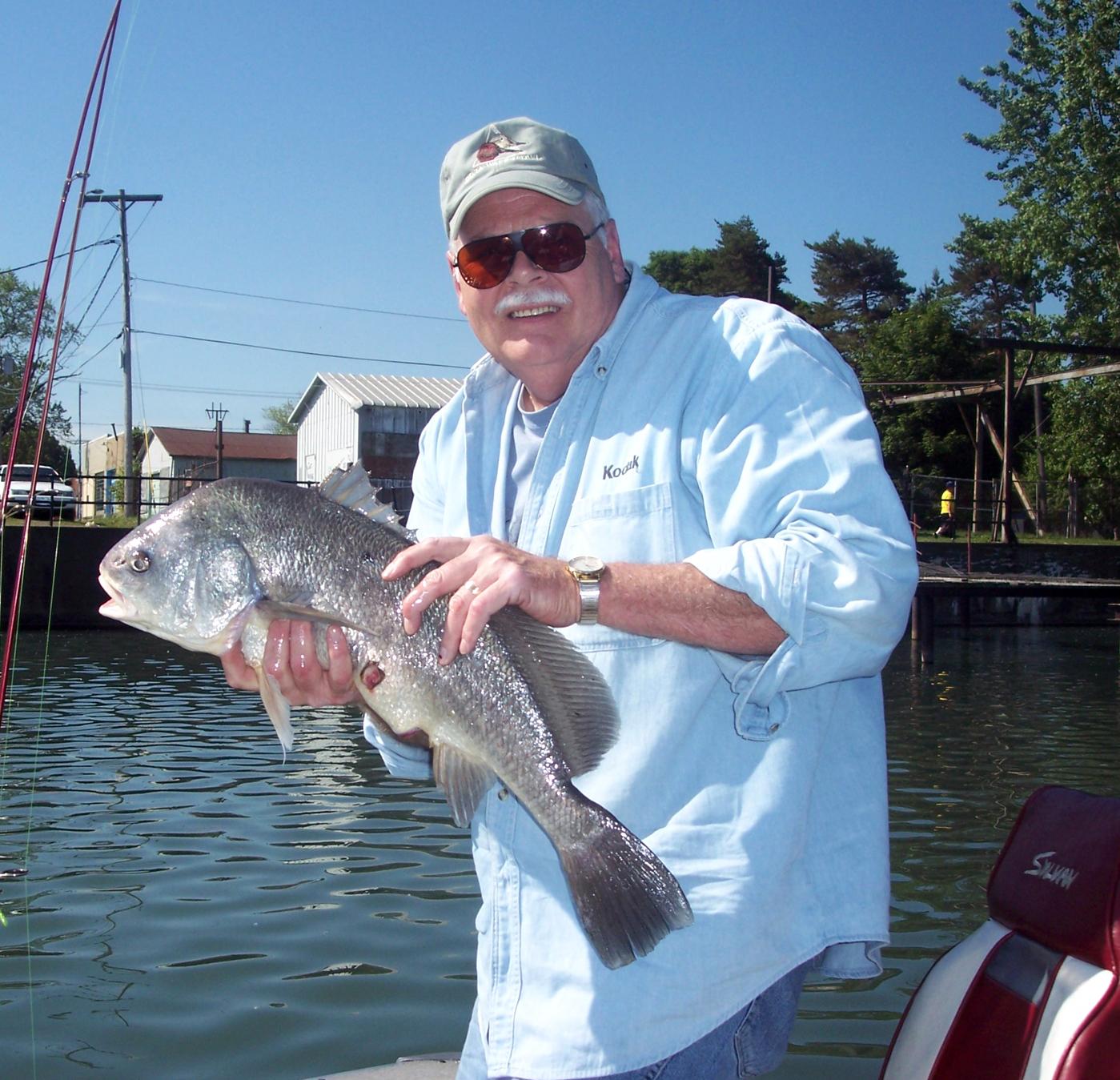 Tom Hickey, veteran of sixty years fishing Oneida Lake, with a handsome freshwater drum (sheepshead). Provided photo
