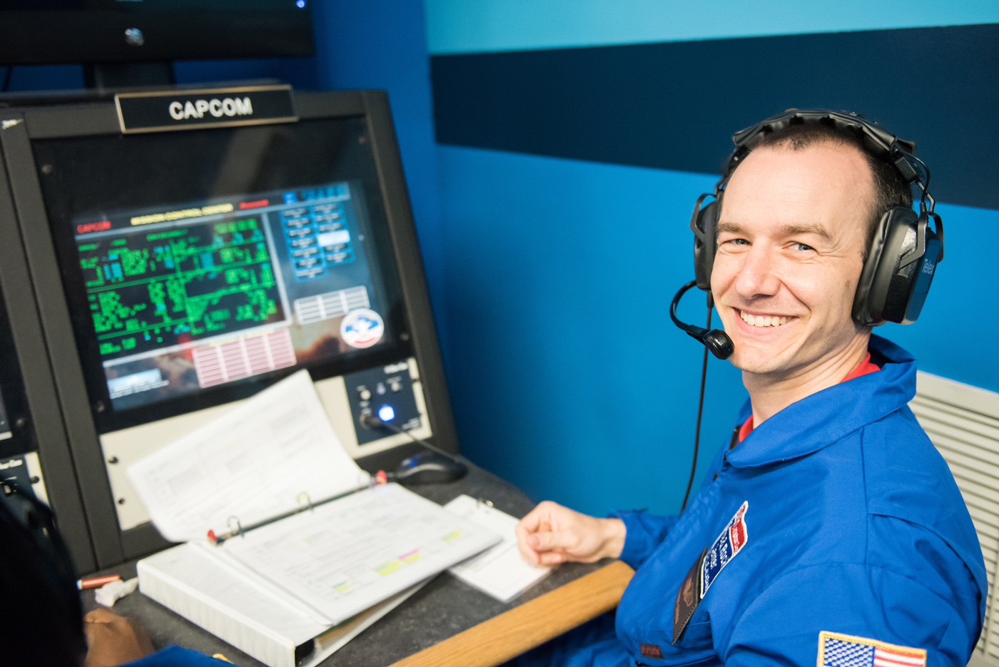 Cudzilo on one of his missions during which his job was CapCom or Capsule Communications, part of Mission Control. Provided photo