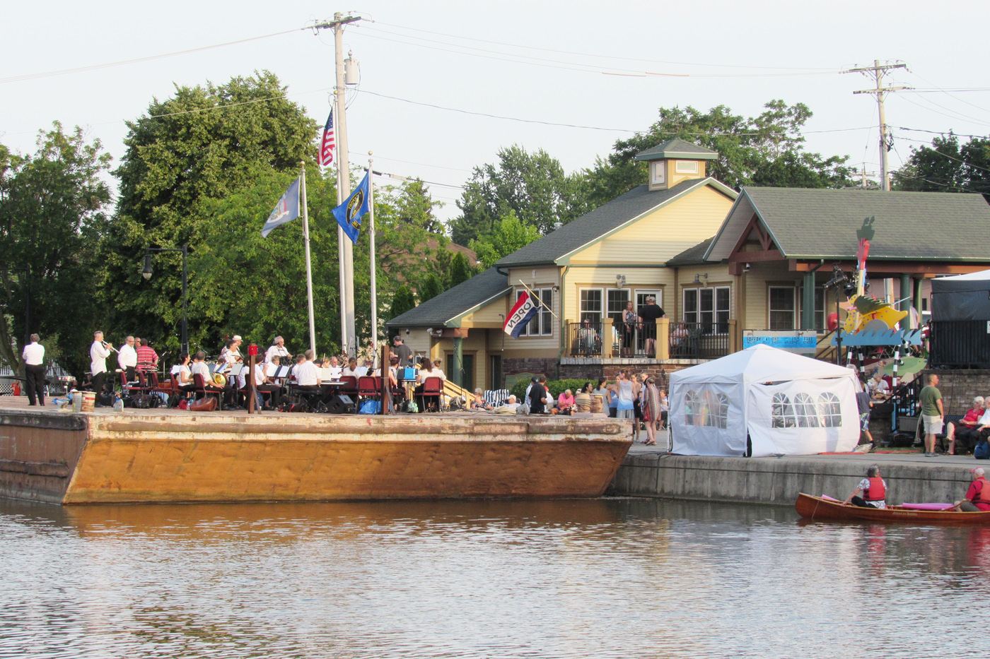 The Albany Symphony performing from a barge in the Erie Canal in Brockport on Saturday, July 7. K. Gabalski photo