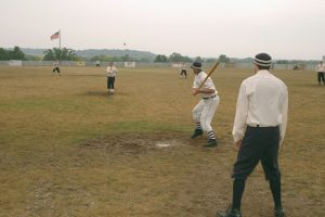 Players in vintage uniforms play baseball in Genesee Country Village & Museum's three-day National Silver Ball Tournament as it was played 150 years ago. Provided photo