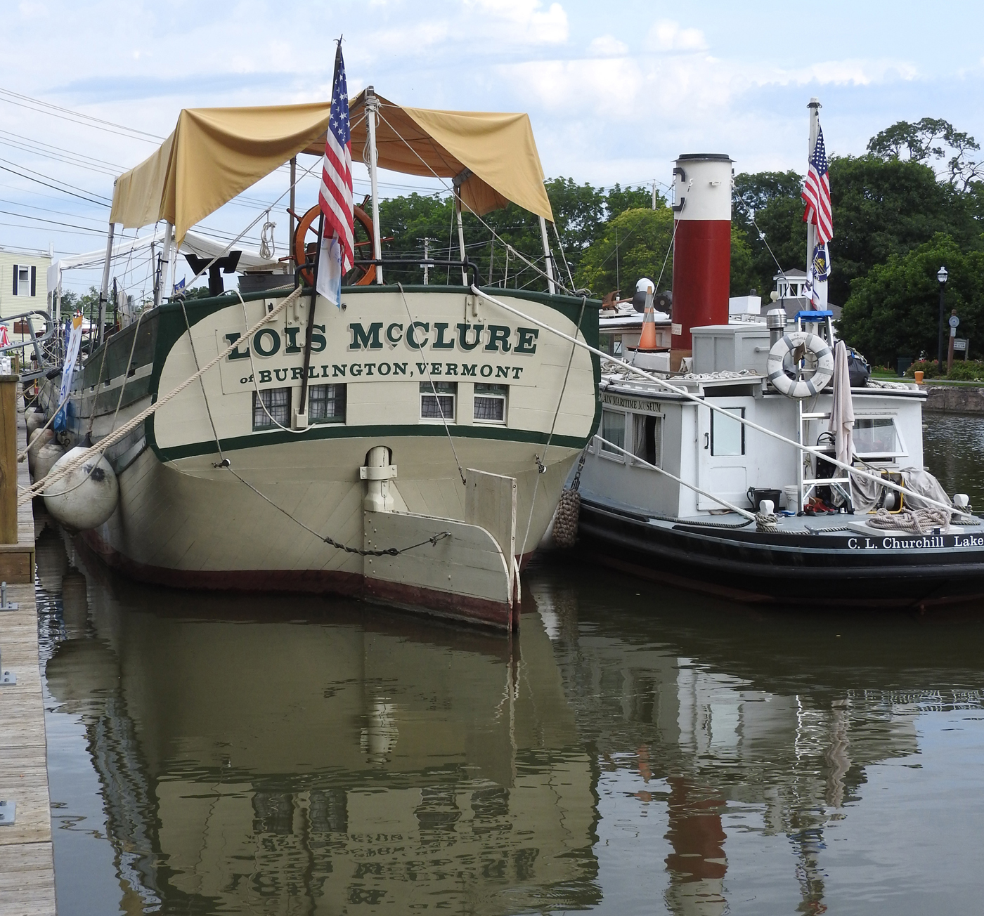 Lake Champlain Maritime Museum's replica 1862 canal schooner Lois McClure made a stop at the Spencerport Depot and Canal Museum on Monday, August 7 on her 2017 Legacy Tour commemorating the Erie Canal Bicentennial. As an authentic replica, Lois McClure has no means of propulsion other than sail, so the 1964 tugboat C.L. Churchill provides power. While in port the schooner crew shared a maritime perspective on the relationship between waterways and trees, canal boats and forests, and how they contributed to the transformation of the United States.