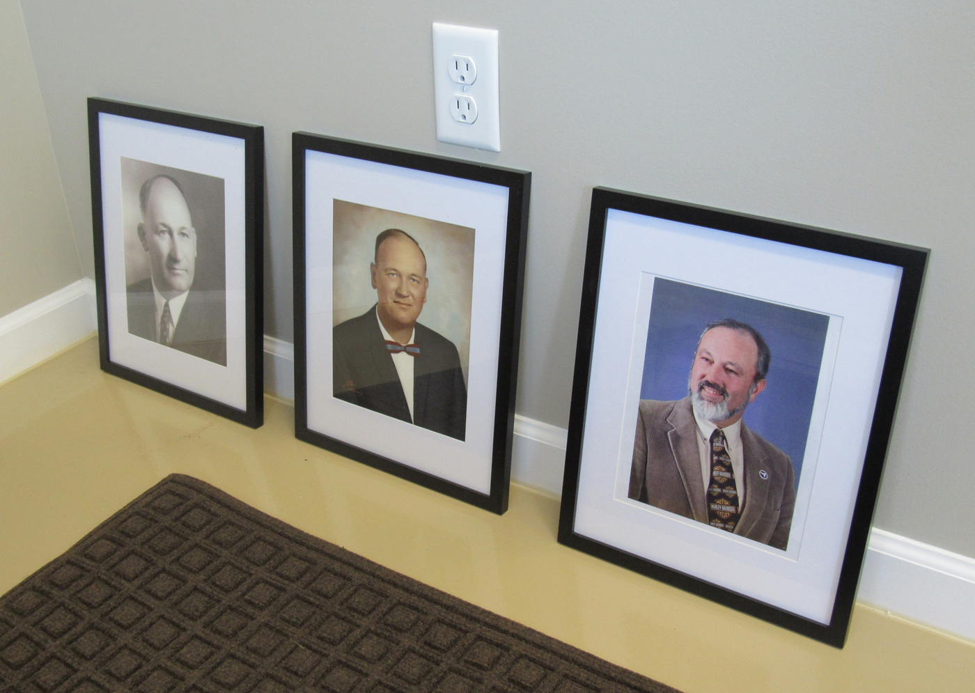 Photographs of Clarkson's three previous Highway Superintendents will be hung in the reception area:  Leon Zastrow, Gerald Zastrow and Dave Goodwin. Several members of the Zastrow family attended the Highway Department Open House August 25. K. Gabalski photo