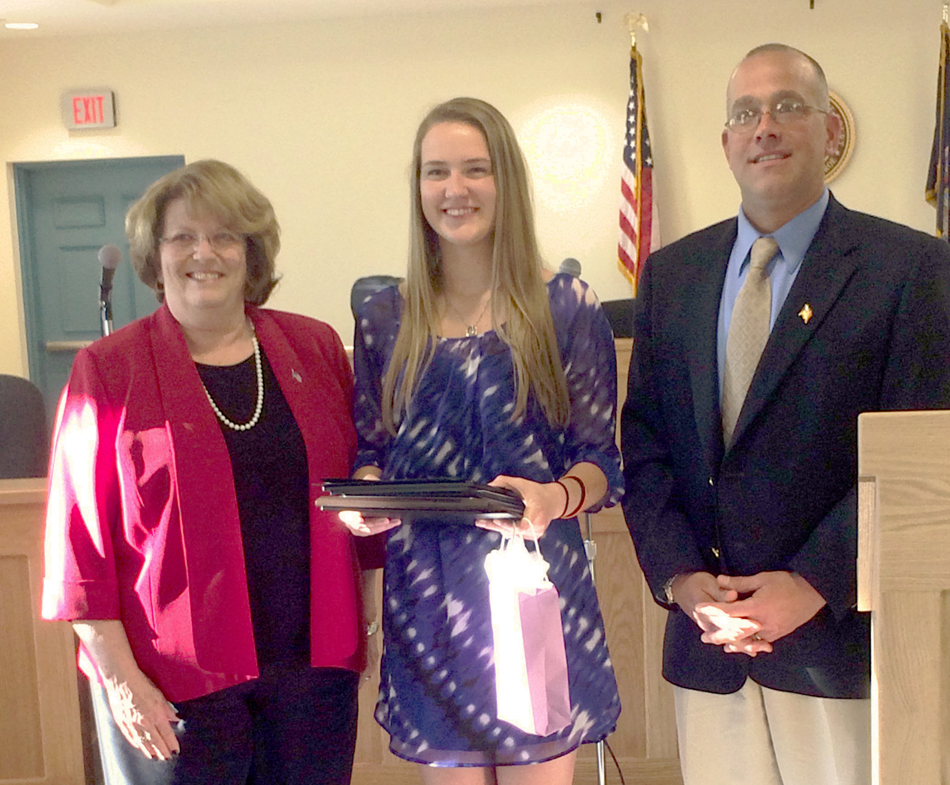 Pictured (left to right): Churchville Mayor Nancy Steedman, 2017 Youth Hall of Fame recipient Jenna Kittle and Riga Town Supervisor Brad O'Brocta. Provided photo