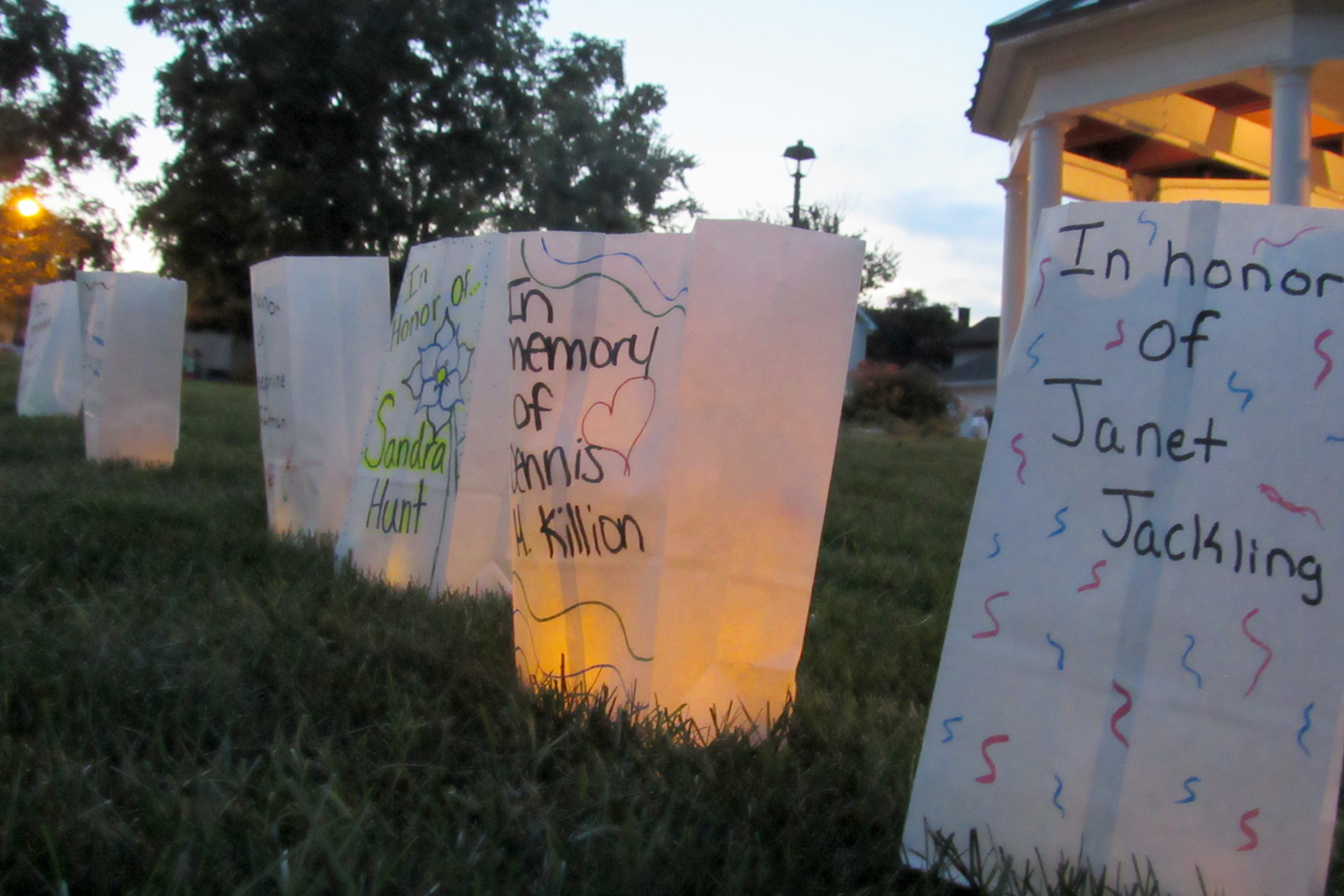 Luminaries surrounded the Gazebo, all in honor or memory of those fighting or who have fought cancer. K. Gabalski photo
