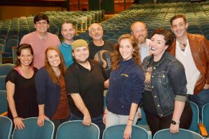 Partial cast photo (left to right): Back row - Joseph Badasacco, Nicholas D. Rogers, Steve Valvano, Eric Williamson and Mark Brummitt; front row - Tina Hoffman, Stephanie Paige Moulton, Dylan DeGeorge, Kit Prelewitz and Jessica Ames. Provided photo