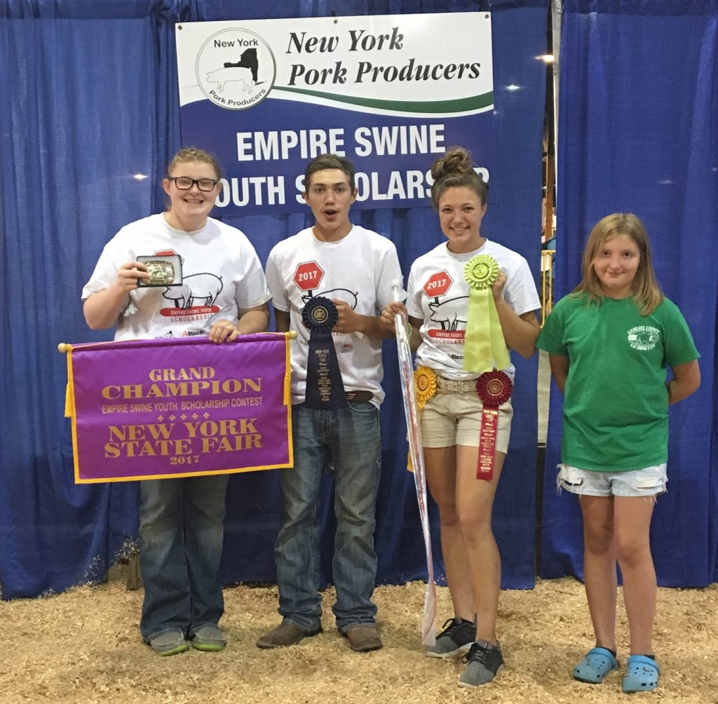 Genesee County 4-H swine show participants (from left to right): Melissa Keller, Benjamin Kron, Becky Kron and Katelynn Rumsey. Provided photo