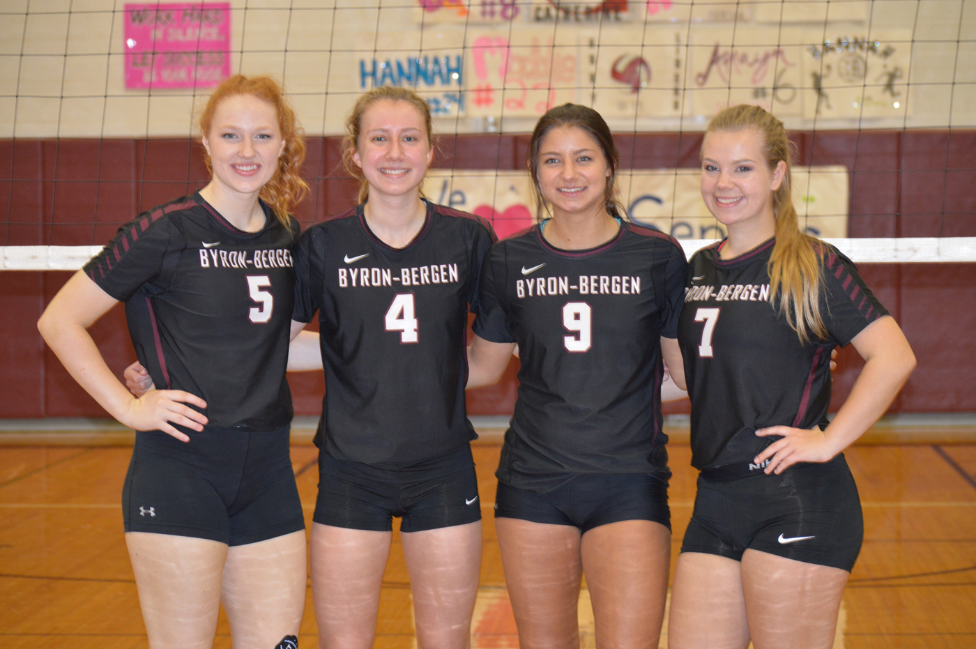 Byron-Bergen Bees seniors: l-r, Quinn Chapell, Lauren Burke, Catherine Brumsted, Riley Sadler. Provided photo