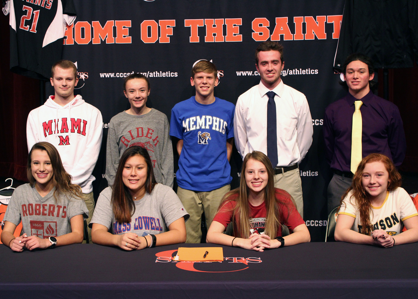 Nine C-C student athletes prepare for outstanding careers in college sport. (Back, l-r) Brandon Crist, Haley Arguien, Payton Gleason, Jacob Buck, Corey Yunker. (Front, l-r) Kyilee Quayle, Meredith Woo, Kelsey Lathrop, Sarah DiGaetano. Provided photo