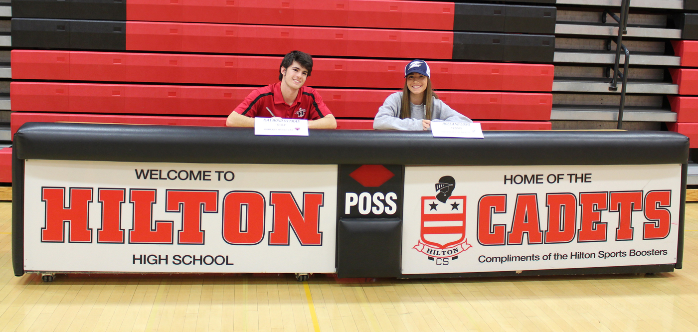 Hilton High School seniors Ray Ottman and Holland Long sign letters of intent to play collegiate sports. Provided photo