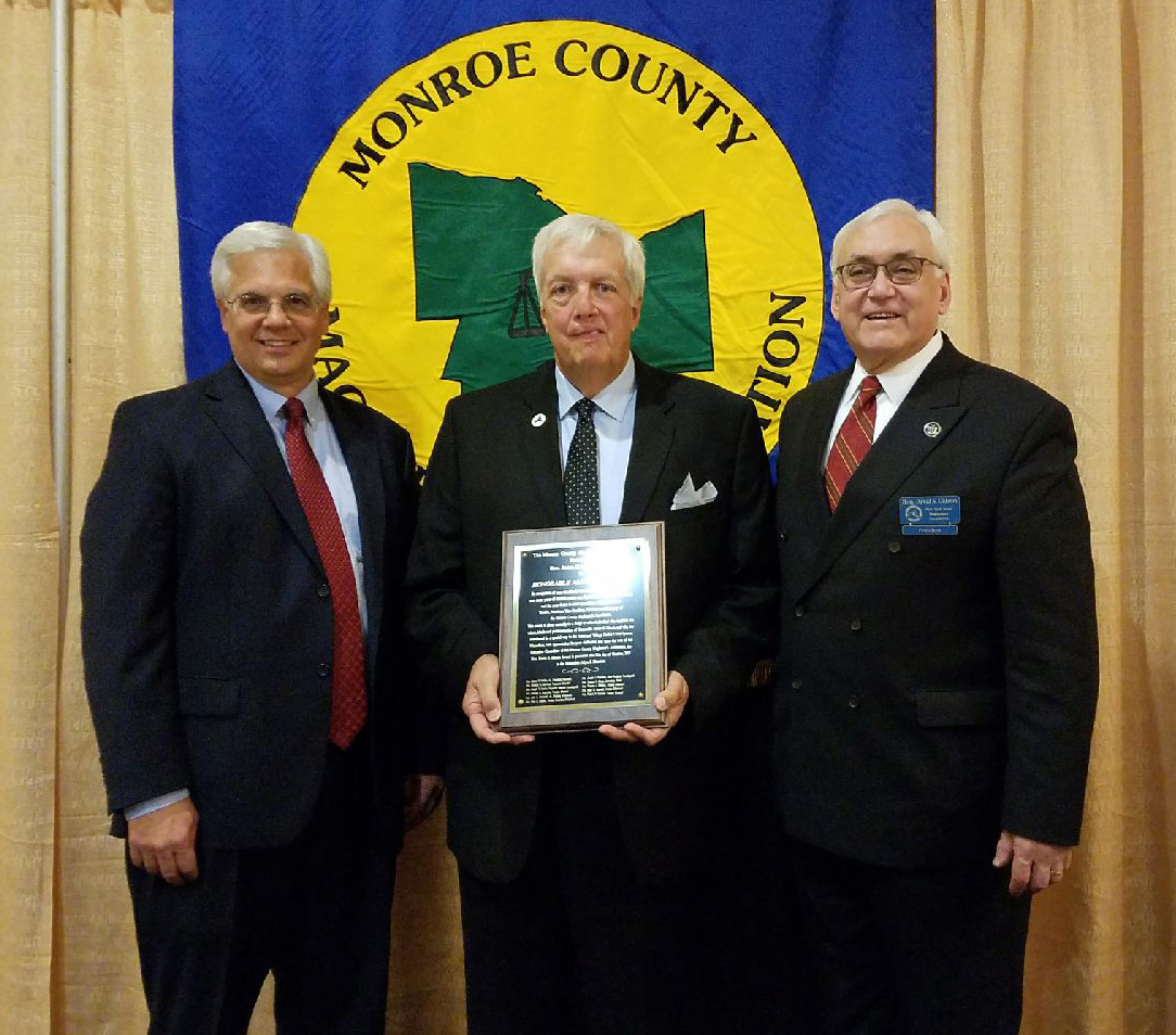 Honorable James Mulley Jr., president of the Monroe County Magistrate's Association, Judge Allyn Hammel, Honorable David Gideon, president of the New York State Magistrate's Association are shown at the Monroe County Magistrate's Association Dinner. Provided photo