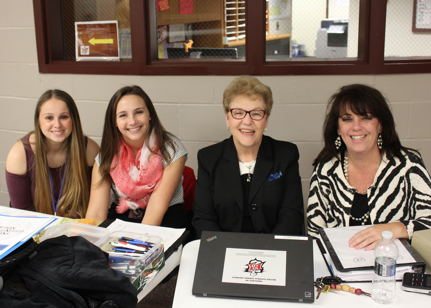 (L-r) Hilton junior Genna Maneti, and teachers Erin Moses, Annette Wattie and Sandra White registered students from over 30 school districts at this year's Model United Nations Conference at Hilton High School. Provided photo