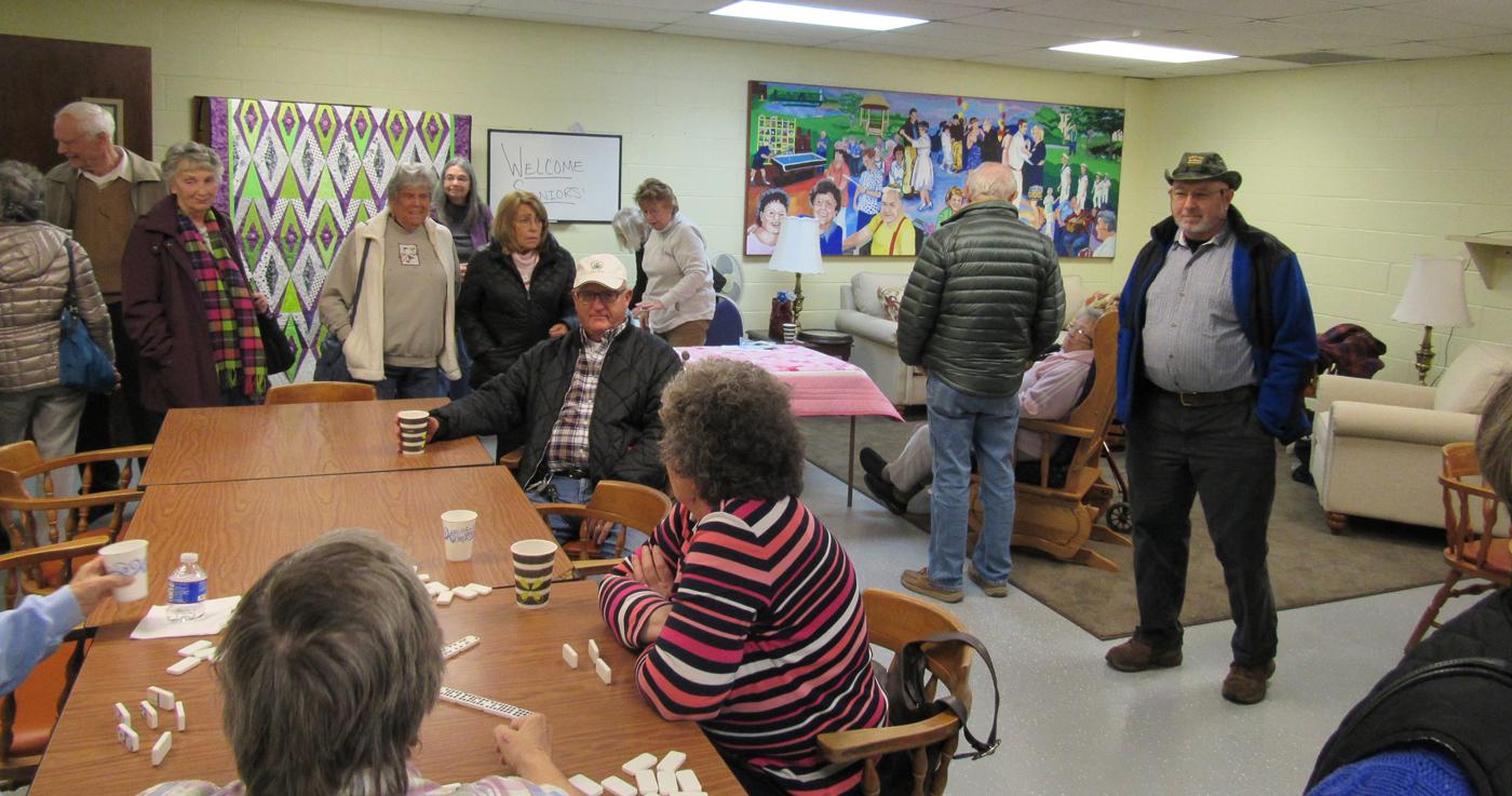 Seniors tour the gathering room at the Sweden Clarkson Community Center November 15 during an open house. K. Gabalski photo