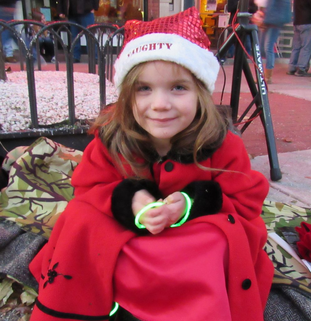 Adelynn Stone of Brockport waits patiently December 3 for the 2017 Holiday Light Spectacular Parade to begin. K. Gabalski photo