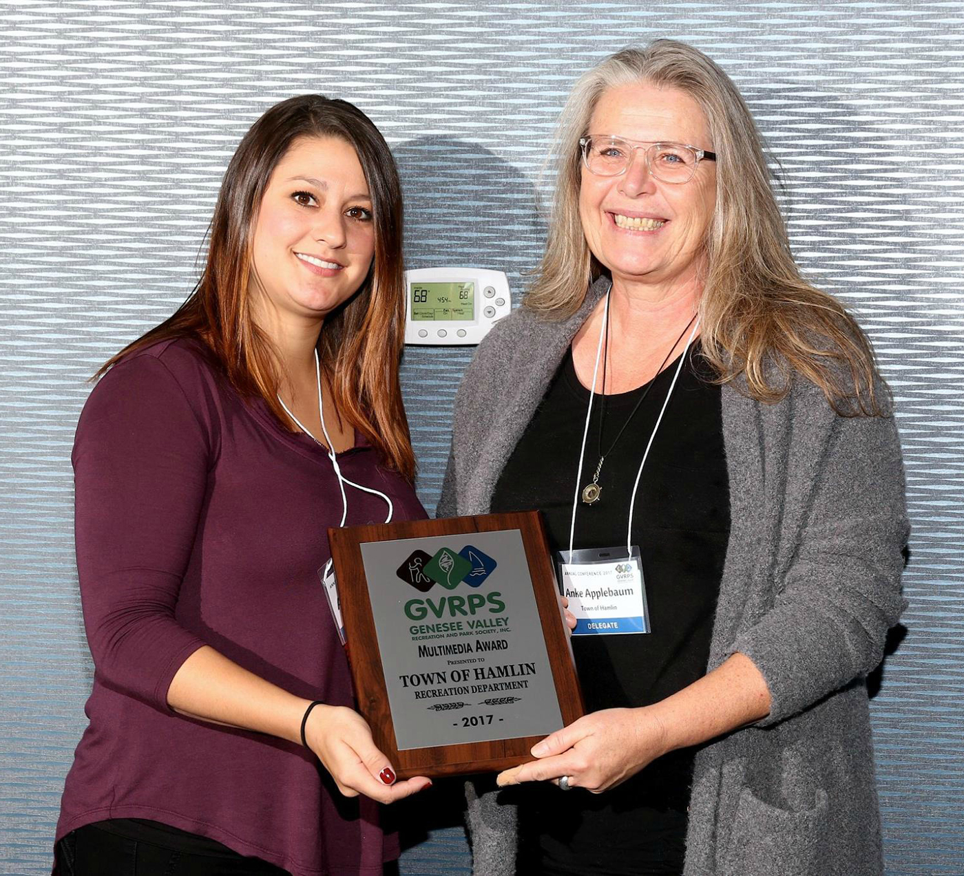 Anke Applebaum (right) receiving the 2017 GVRPS Multimedia Award for the Town of Hamlin. Provided photo