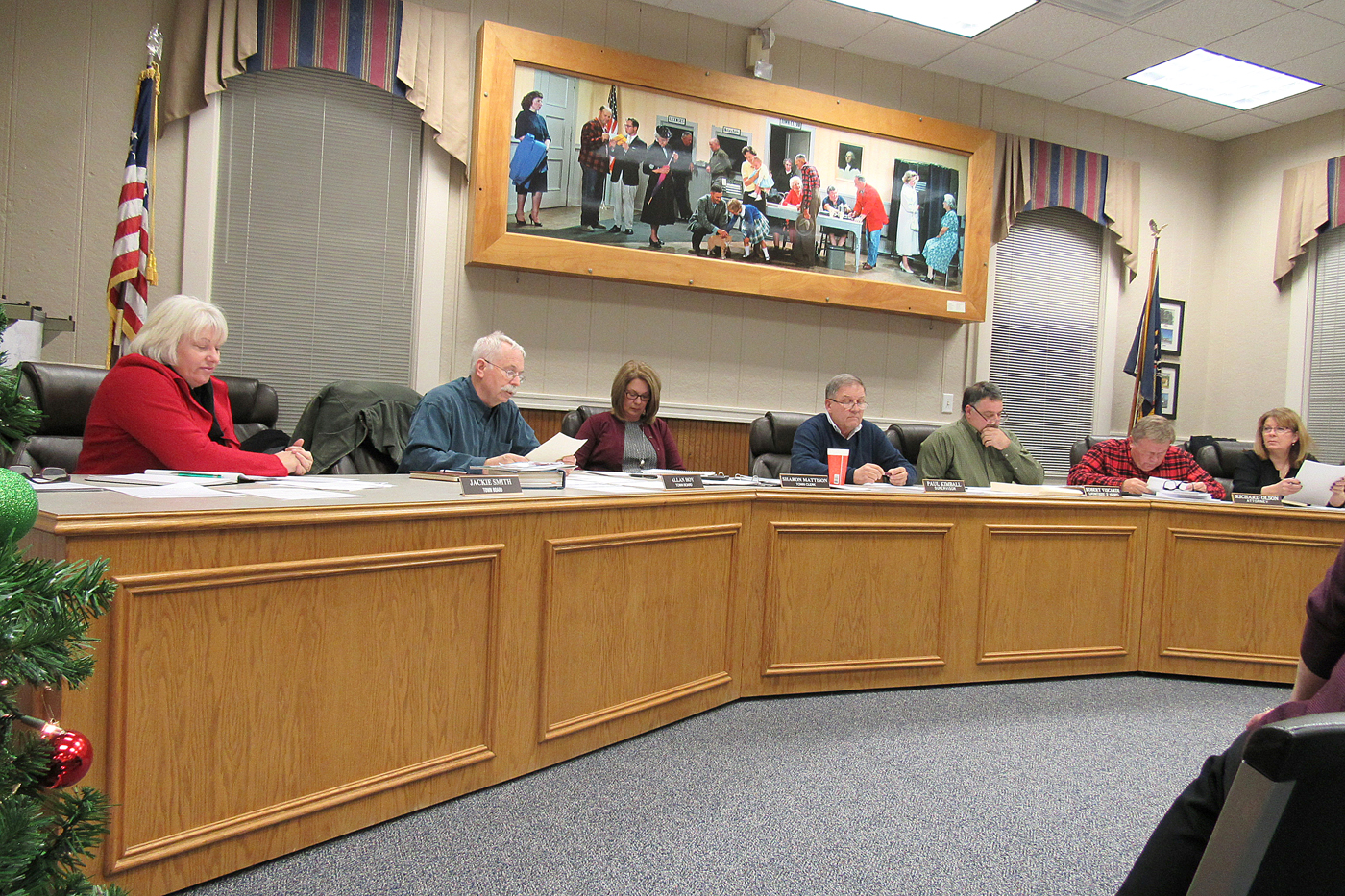 Clarkson Town Council member Allan Hoy reads a resolution December 12 honoring Supervisor Paul Kimball, who is leaving office at the end of the year after serving the town for 36 years. K. Gabalski photo