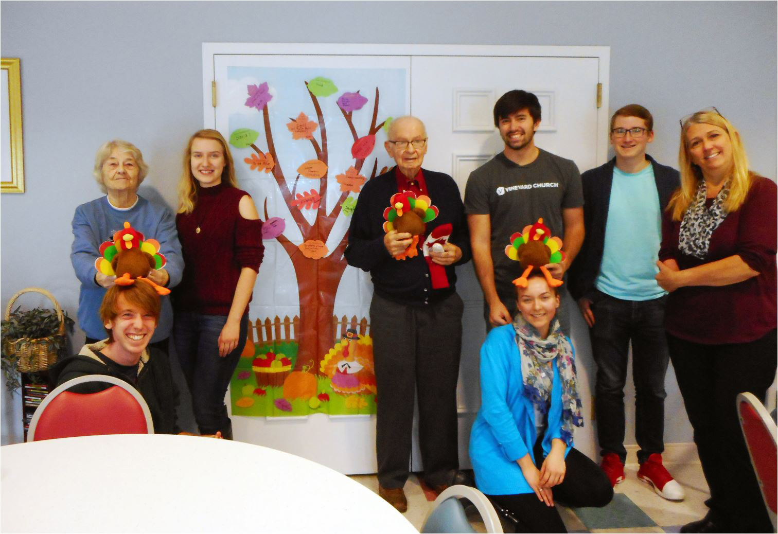 Students Ian Macdonald, Kayla Richardson, Laurel Green, Trevor Owens and Paul Nichols with residents Joyce Vembre and Eugene Dunn. Provided photo