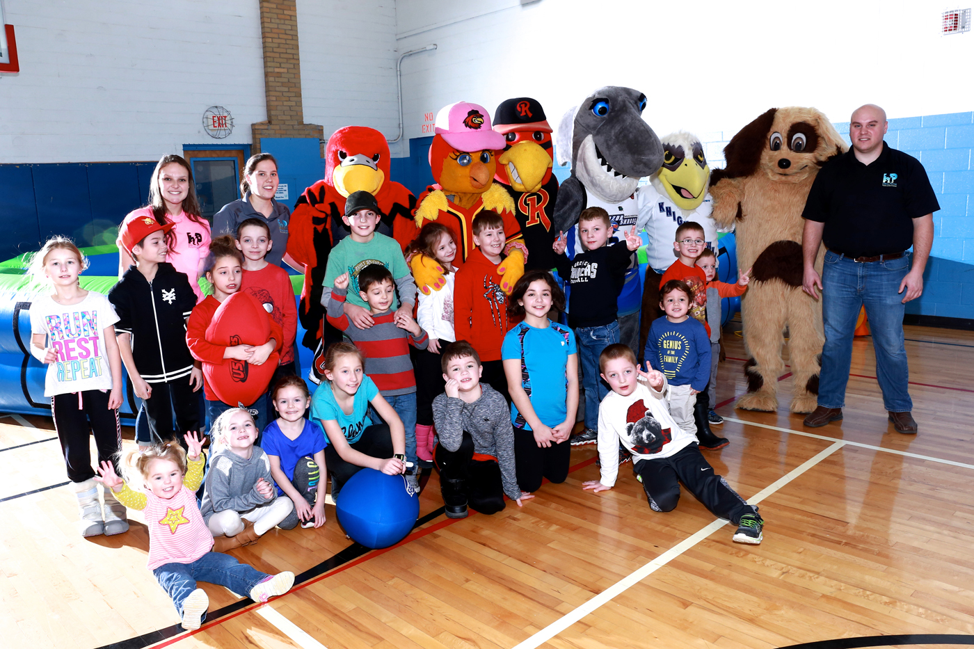 Participants in the 2017 Winter Fest Family Day of Play in Hilton enjoy Mascot Madness. The event returns January 27 to the Hilton Community Center. Photo provided by Tom Venniro, Town of Parma Parks and Recreation Director