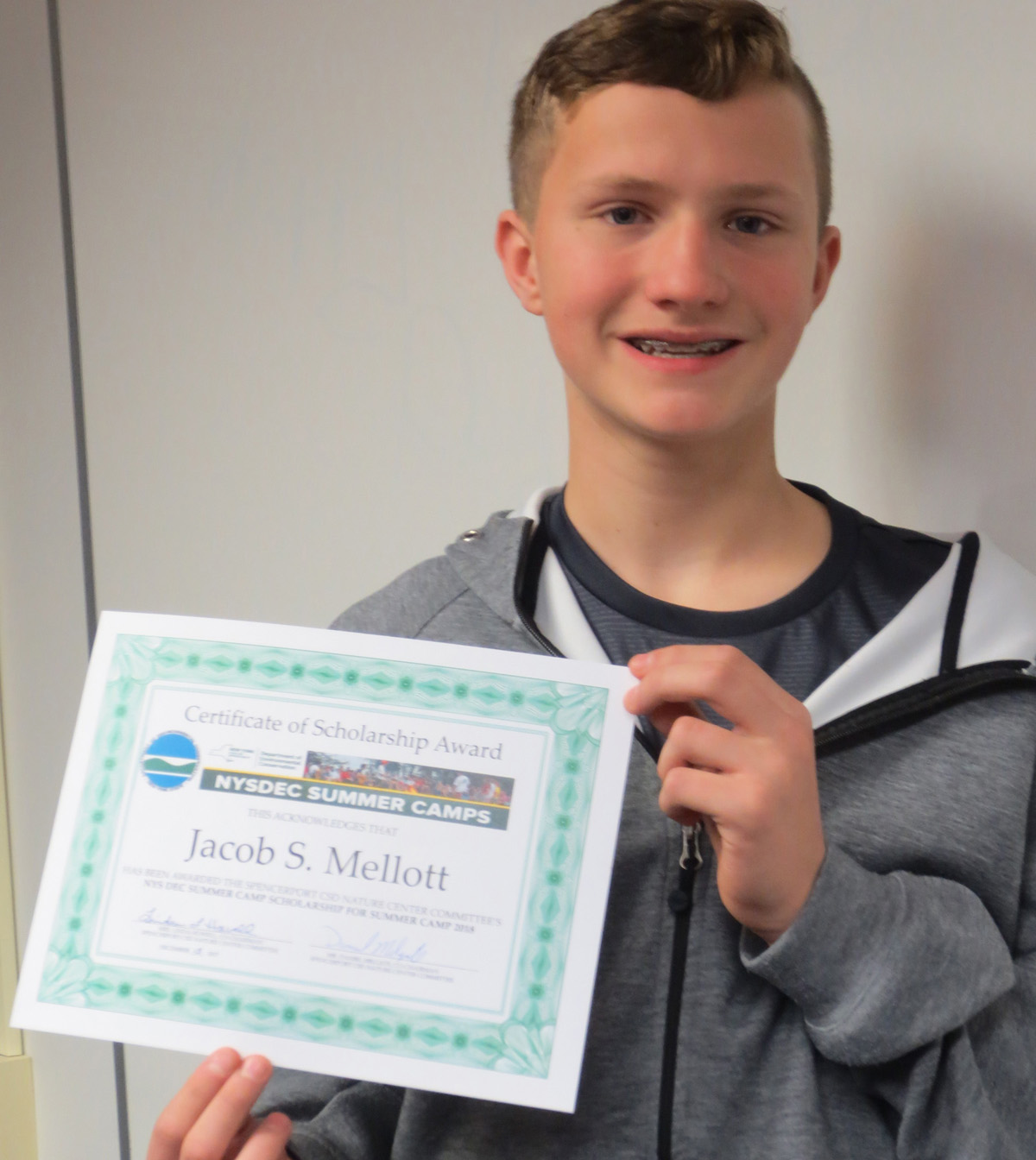 Spencerport eighth grader, Jacob Mellott, received the DEC scholarship for 2018. Provided photo