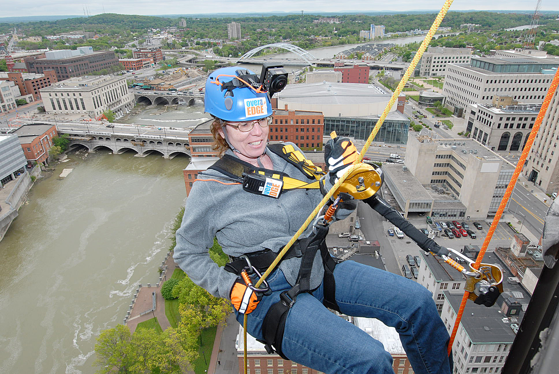 Karen Fien of Spencerport made the descent during the 21 Stories for Scouts event in 2017.
