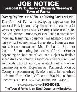 Town of Parma 2x3 Park Laborer 2018