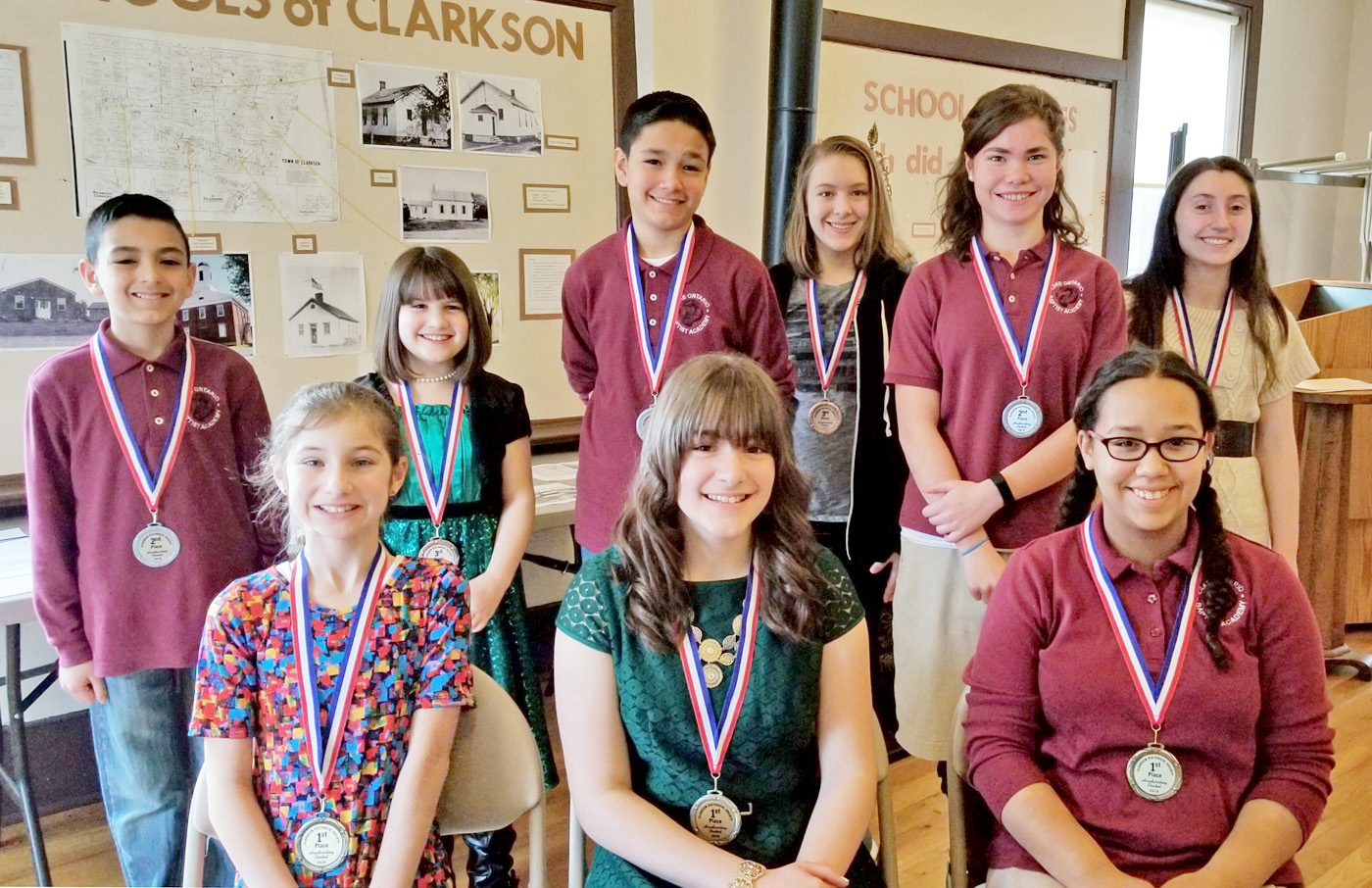 Winners in the Clarkson Historical Society's fourth annual handwriting contest were honored at the Clarkson Academy on January 28. Seated (l to r): Alice Dickerson, Cynthia Harris, Kayleigh Rodell.Standing (l to r): Andrew Martinez, Candace Harris, Victor Martinez, Emma Lenhard, Claire Buck, Emily Gol. Their schools and placements appear in the adjoining story. Photo by Dianne Hickerson