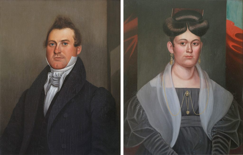 These portraits of Hiel and Phebe Brockway, painted cc. 1825, hang in the back parlor of the Morgan-Manning House. Mary Lynne Turner will discuss mystery of how the portraits got to MM House since the Brockways were not related to the Morgan family. She will comment on the hairstyles, clothing and demeanor portrayed, reflecting the earlier Regency era rather than Victorian era styles. Provided photos
