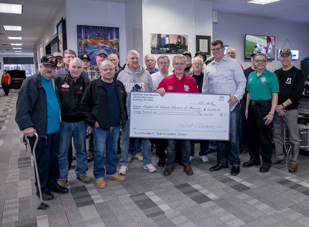 Rochester Auto Museum presented a check for $20,000 to the Vietnam Veterans of America Chapter 20. Provided photo
